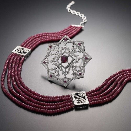 Ruby necklace & brooch